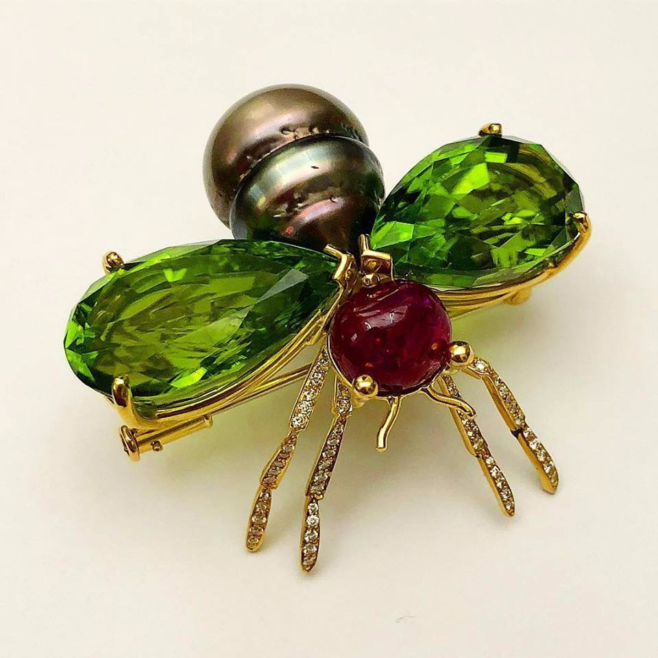 Burma Ruby, Peridot, and Natural Pearl Winged Insect Brooch