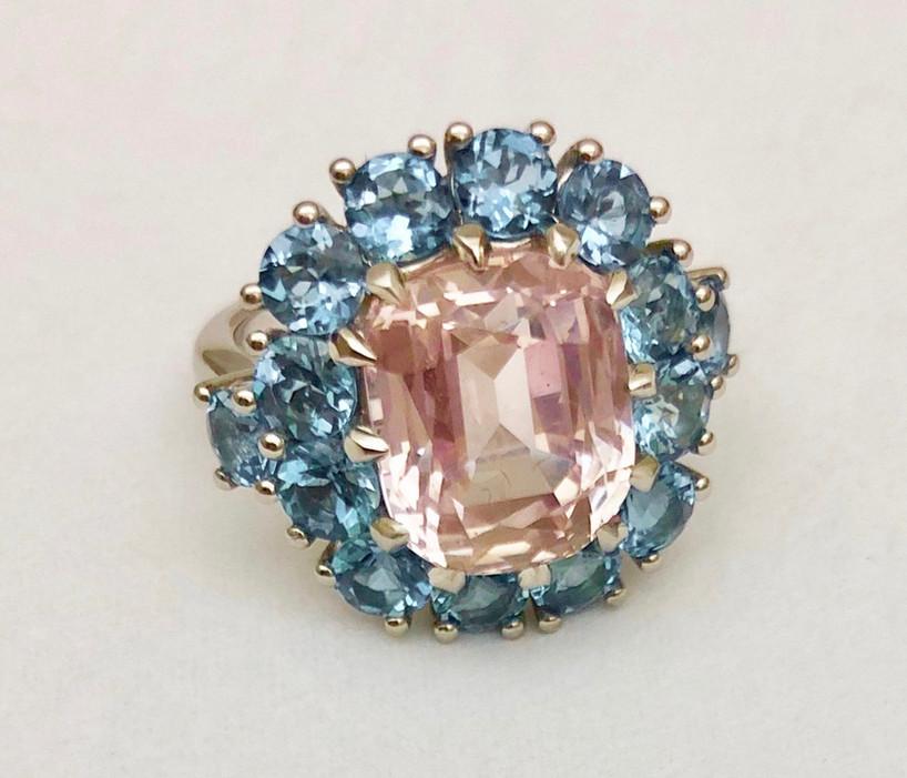 Fancy Sapphire and Aquamarine Ring