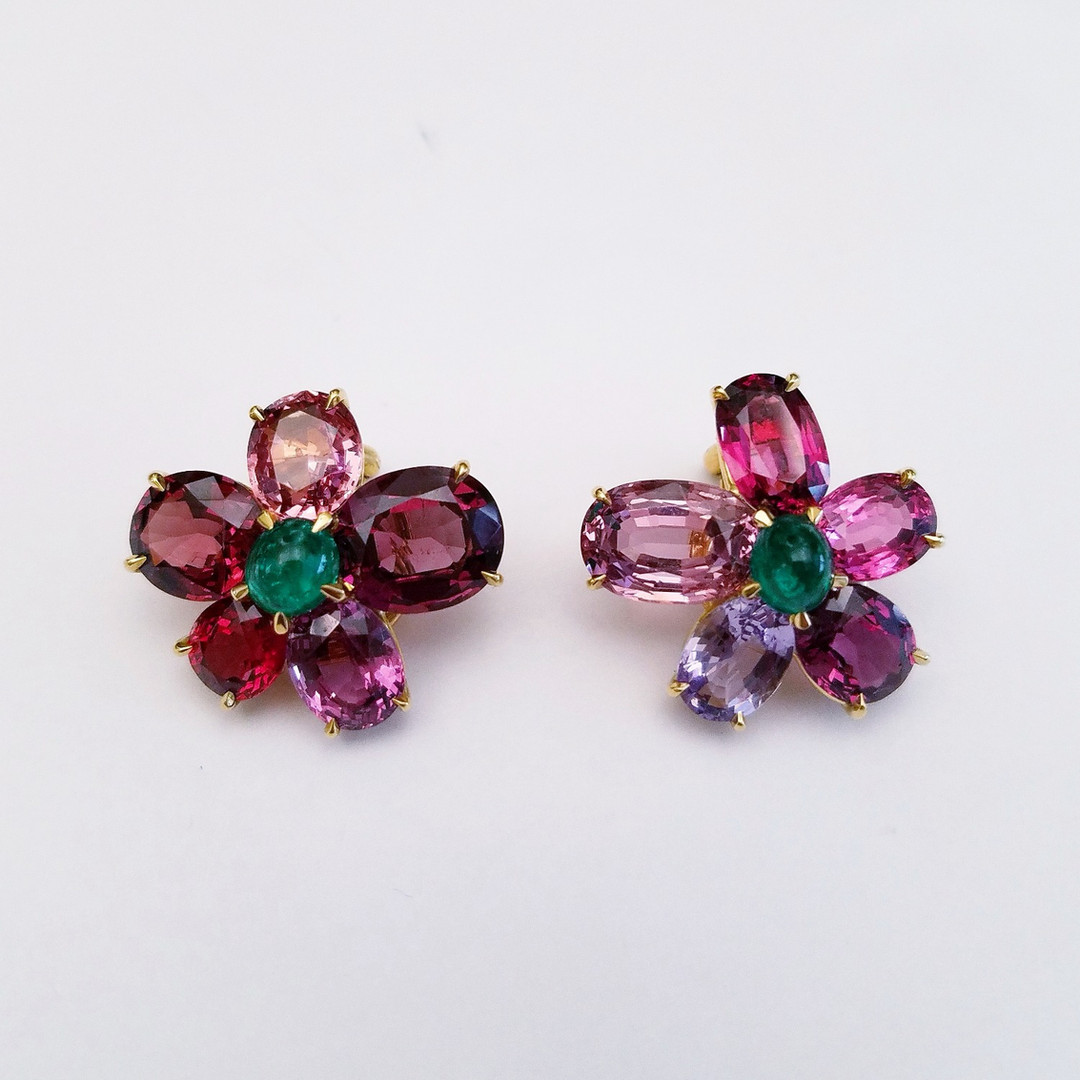 Spinel and Emerald  Earrings