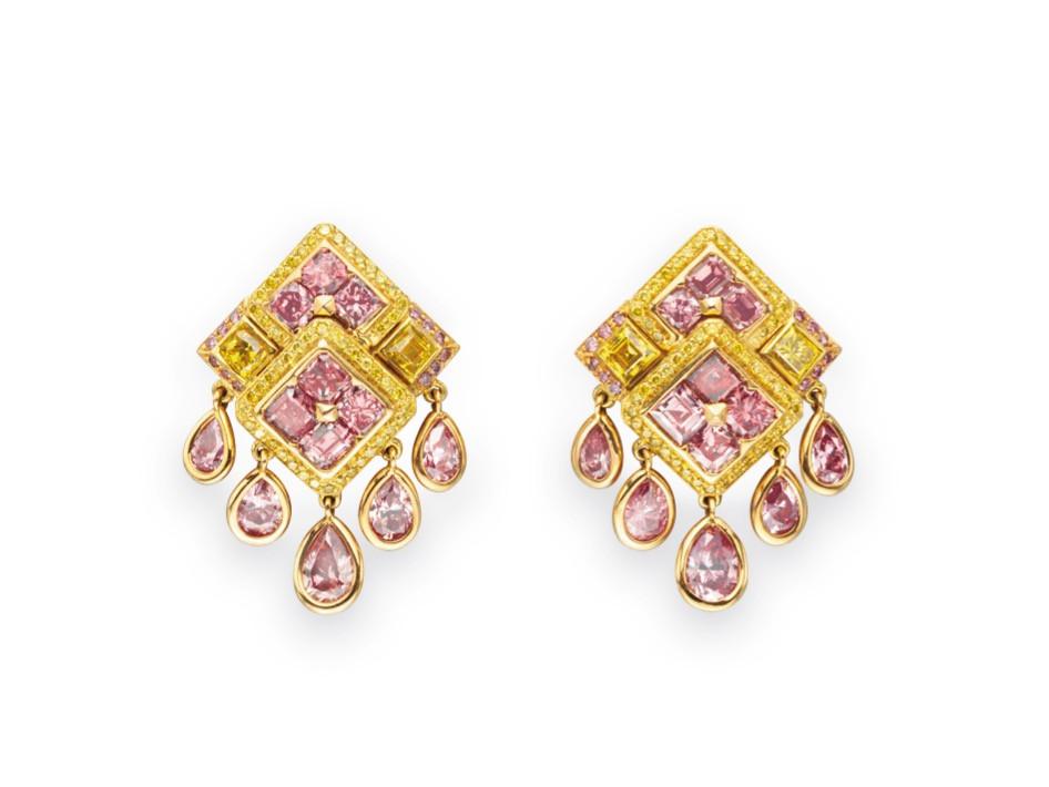 Fancy Yellow and Fancy Pink Diamond Earclips