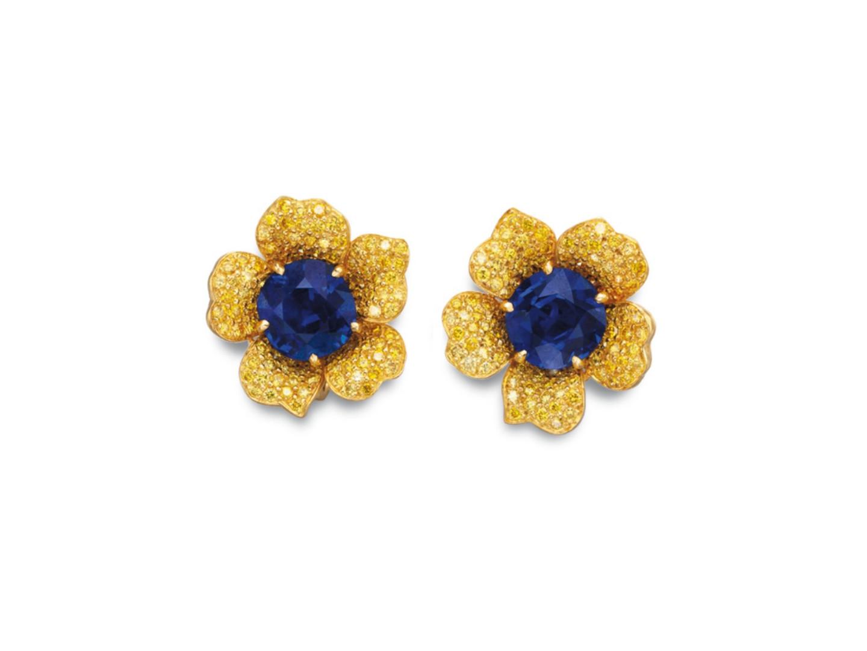 Burmese Sapphire and Fancy Yellow Diamond Earrings
