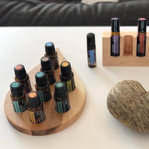 Présentoir en bois pour huiles essentielles