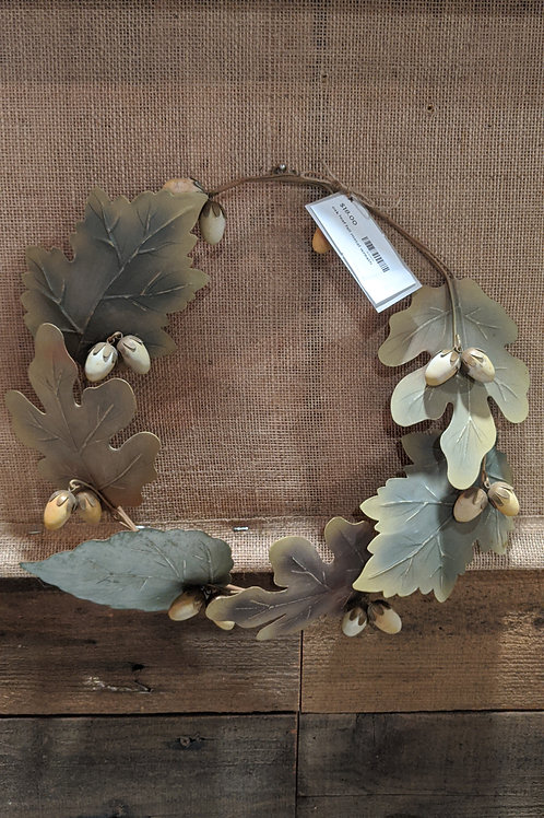 Fall oak leaf metal wreath