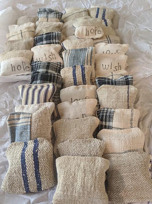 Vintage French linen grain sack lavender sachet's