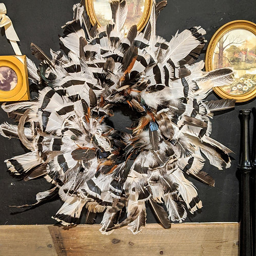 Large fall feather wreath from the Burke Ridge Farm