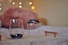 Black and Pink Wine Glass