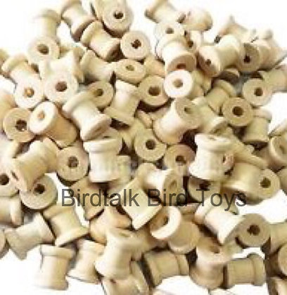 Birdtalk Bird Toys - 25 Natural Wooden Little Spools Toy Parts