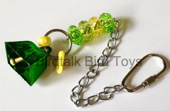 Birdtalk Bird Toys - 26mm Cowbell with Hardware Green