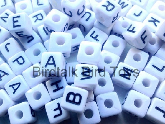 Birdtalk Bird Toys - 30 White Alphabet Beads