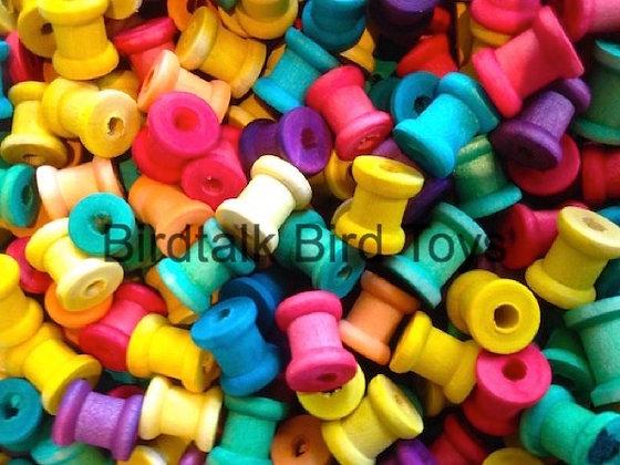 Birdtalk Bird Toys - 25 Little Colored Wooden Spools Toy Parts