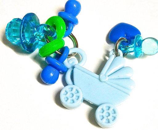 Birdtalk Bird Toys - Dressed Pram - Blue