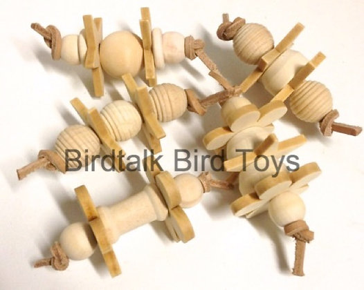 Birdtalk Bird Toys - 5 Wooden Foot Fiddlers