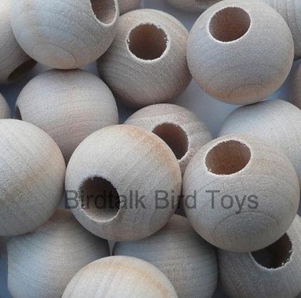 Birdtalk Bird Toys - 10 Natural 2.5cm Wooden Beads
