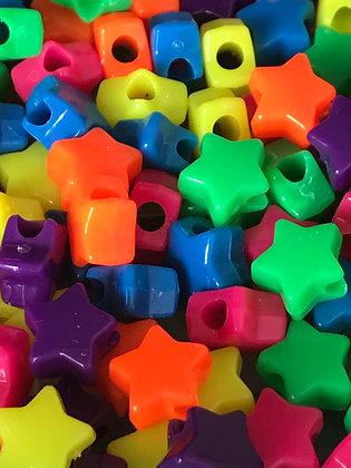 Birdtalk Bird Toys - 25 Neon Star Beads Toy Parts
