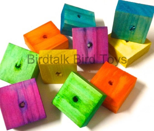 Birdtalk Bird Toys - 8 Colored Pine Blocks Toy Parts
