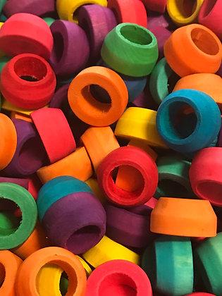 Birdtalk Bird Toys - 12 Coloured Cone Rings Toy Parts