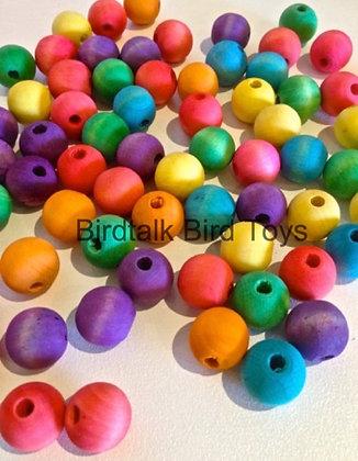 Birdtalk Bird Toys - 20 x1.6mmColored Wooden Balls Toy Parts