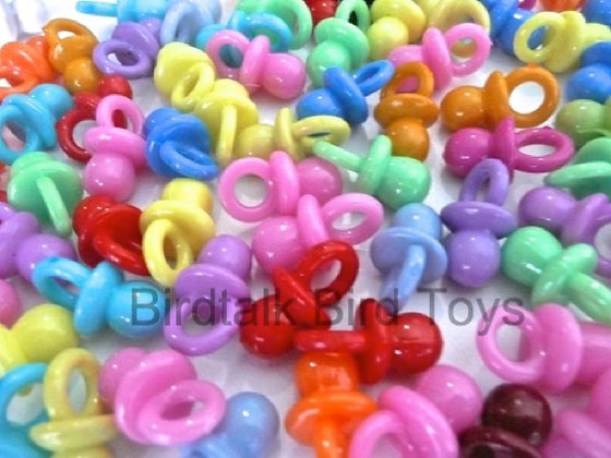 Birdtalk Bird Toys - 20 x 2cm Opaque Pacifiers Toy Parts