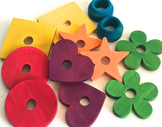Birdtalk Bird Toys - 12 Colored Mixed Wooden Parts Toy Parts