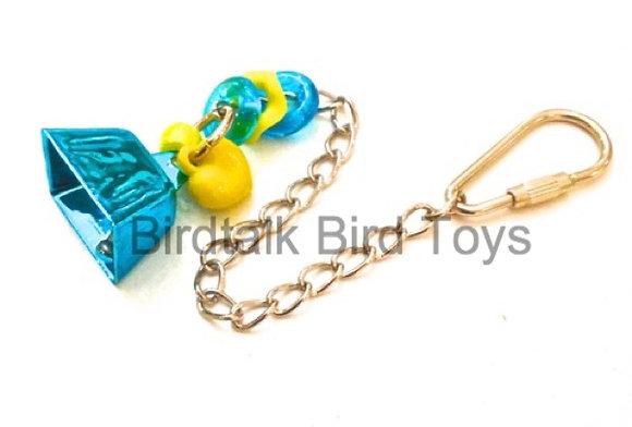 Birdtalk Bird Toys - 26mm Cowbell with Hardware Aqua
