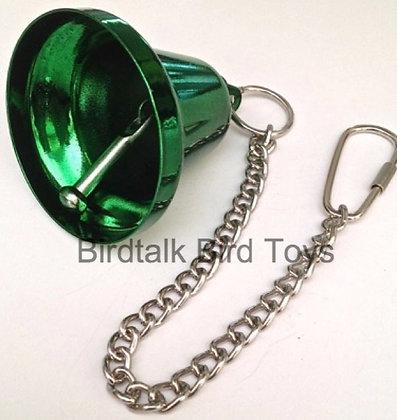 Birdtalk Bird Toys - 65mm Green Liberty Bell & Hardware