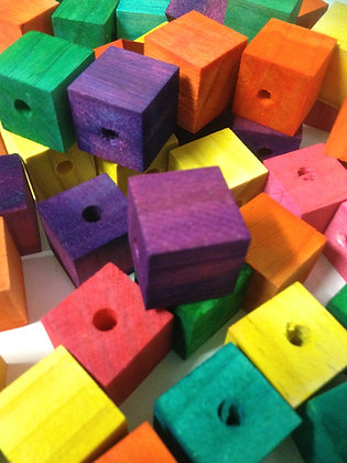 Birdtalk Bird Toys - 10 x 2cm Colored Pine Blocks Toy Parts