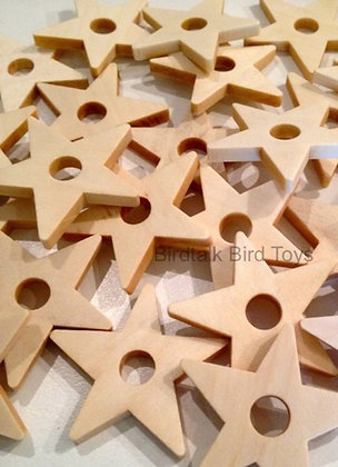 Birdtalk Bird Toys - 10 Natural Wooden Stars - Toy Parts