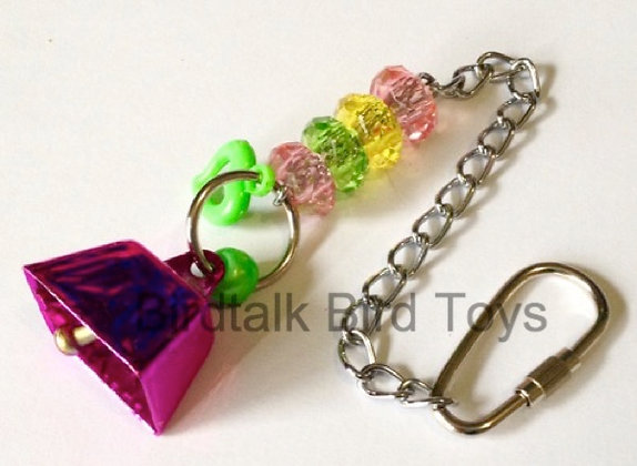 Birdtalk Bird Toys - 26mm Cowbell with Hardware Pink