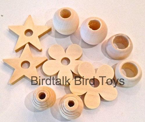 Birdtalk Bird Toys - 10 Natural Mixed Wooden Parts Toy Parts