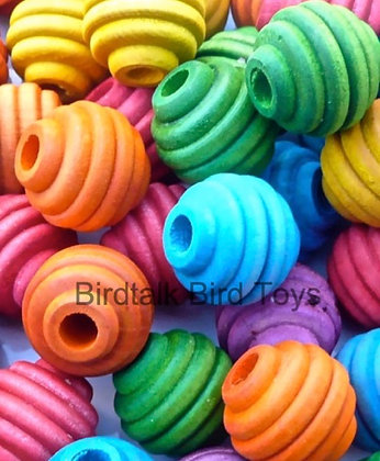 Birdtalk Bird Toys - 10 Colored Wooden Beehive Beads Toy Parts  Beads