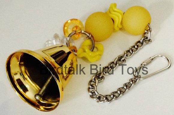 Birdtalk Bird Toys - 52mm Gold Bell with Hardware Bling