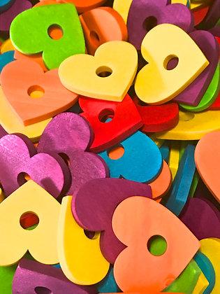 Birdtalk Bird Toys - 12 Wooden Hearts - Toy Parts