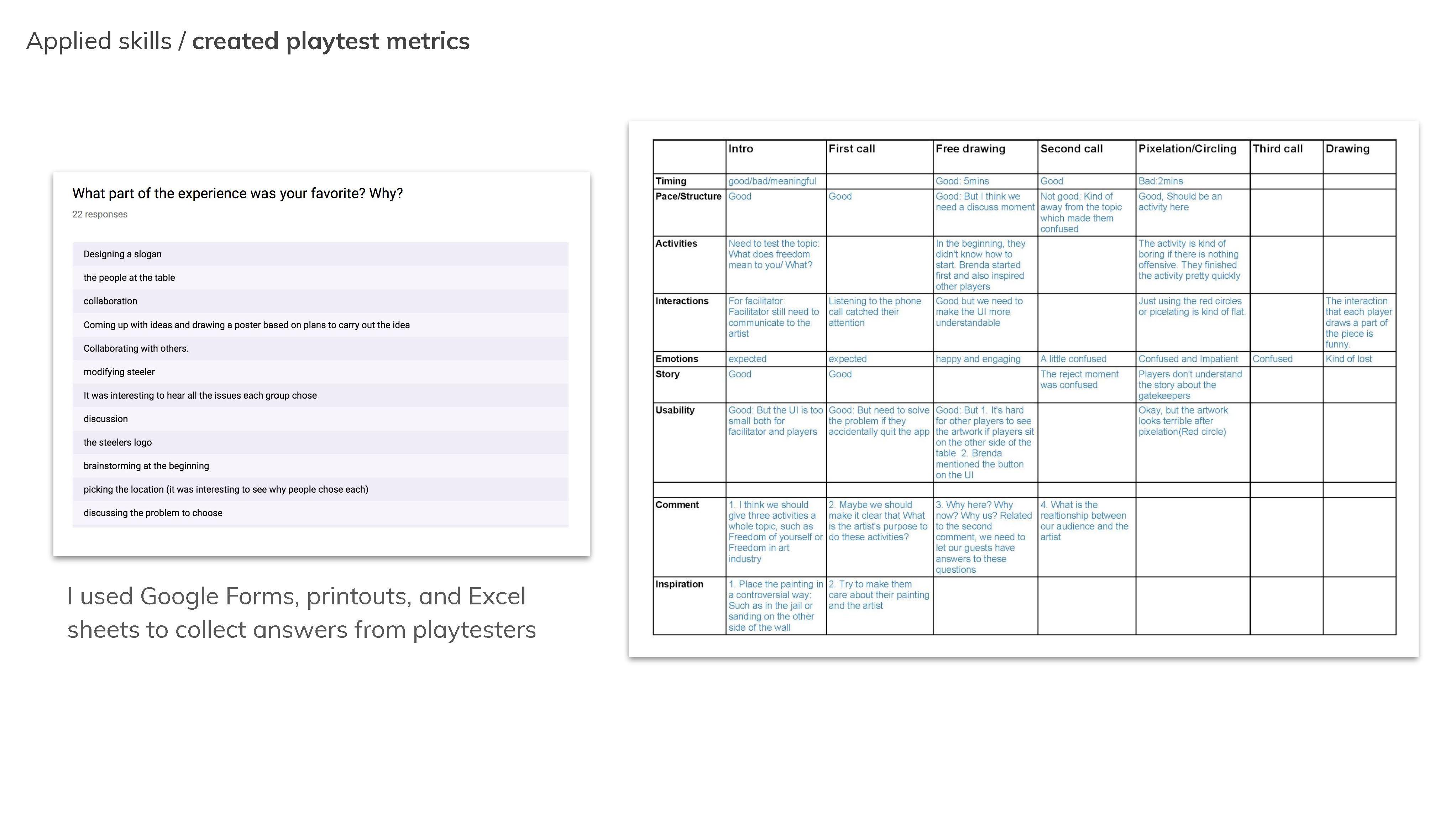 playtest metrics