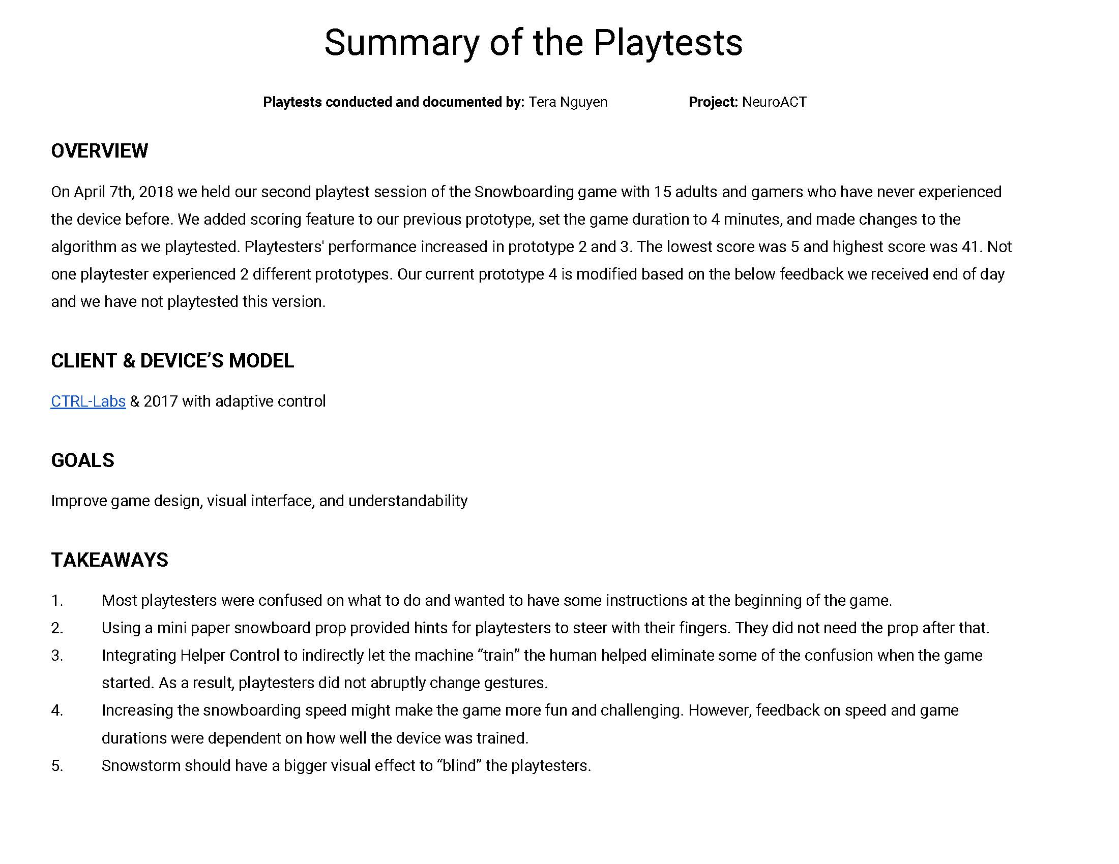 [NeuroACT] Snowboarding Playtest Summary