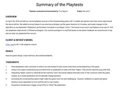 [NeuroACT] Snowboarding Playtest Summary