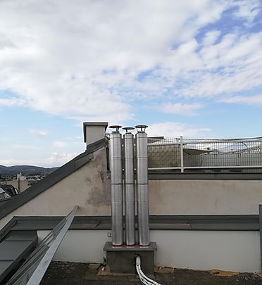 Kaminverlängerung nach Dachgeschoßneubau (2. Gruppe)