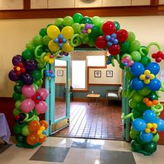 trolls balloon arch birthday
