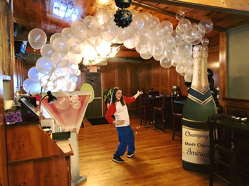 Lets Celebrate Bubbly champagne balloon arch