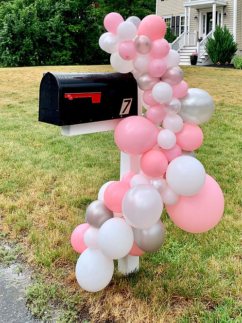 Pink gray white Balloon Garland