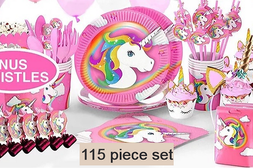Unicorn Party Supplies 160 Set Birthday Decorations Tablecloth Backdrop Balloons