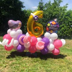 6th birthday girls balloon display