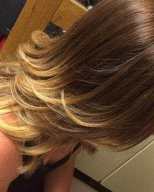 Beautiful blonde ombré with a cut and blow dry on shoulder length hair