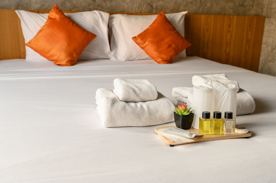 Set of hotel amenities (such as towels,