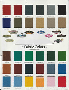 pool table felt color chart
