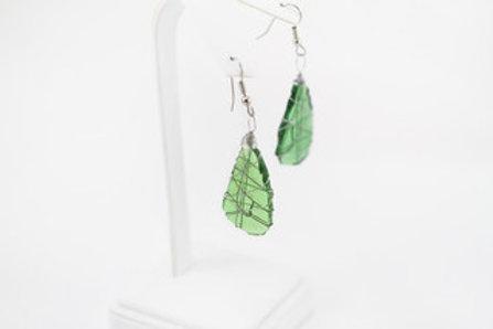 Green Tumbled Glass Earrings