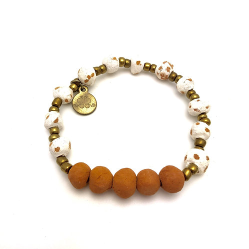 White Antiqued Aromatherapy Bracelet