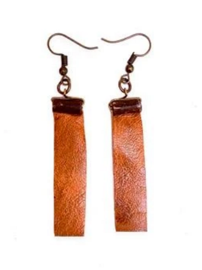 Steel and Leather Earrings