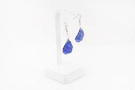 Blue Tumbled Glass Earrings