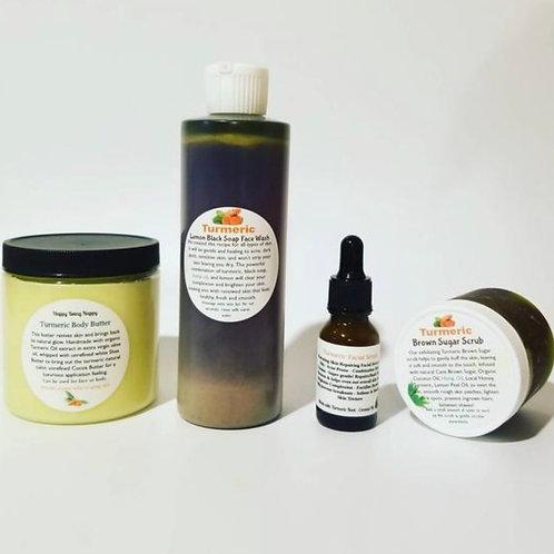 Turmeric Facial Oil + Body Butter + turmeric Facial Wash + Scrub