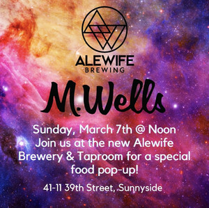 Chef Hugue Dufour from MWells in LIC Pops Up This Sunday at Alewife Brewing!